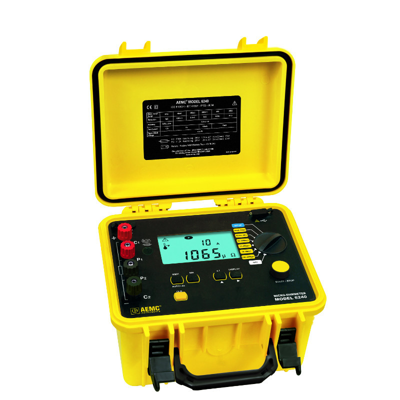 AEMC 6240 10A Micro-Ohmmeter Selectable test current and resistance ranges