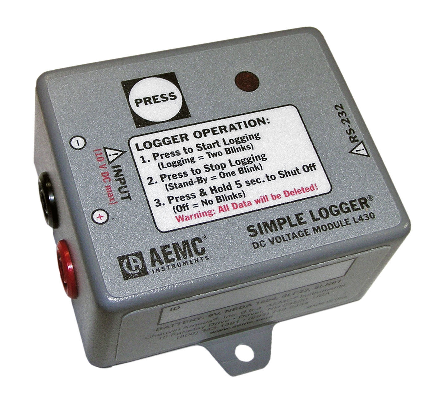 AEMC L430 DC Voltage Simple Logger 0 to 10VDC
