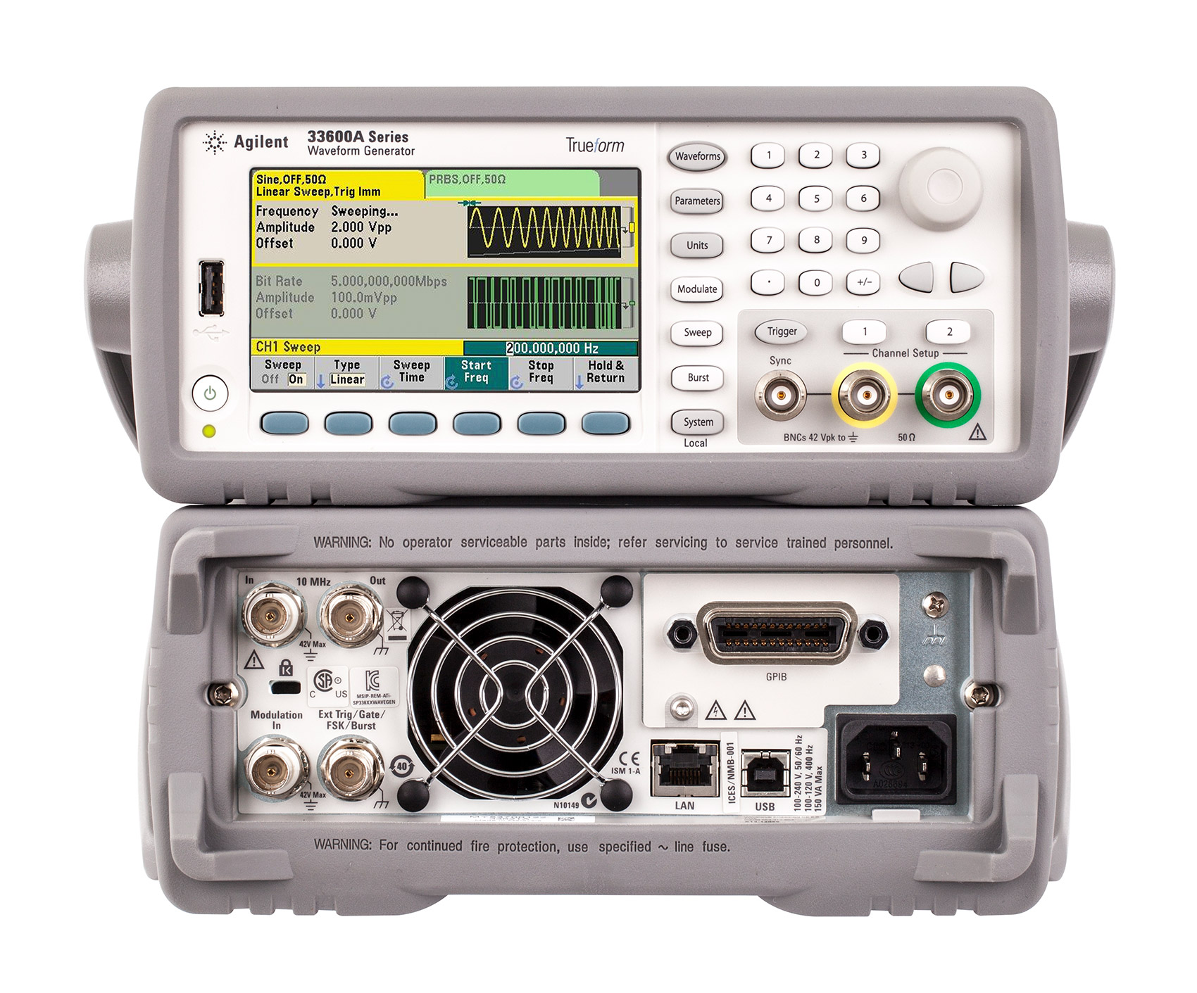 Rent Agilent 33622A Waveform Generator, 120 MHz, 2-Channel